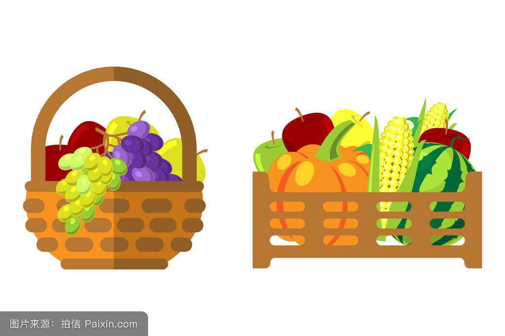 水果篮子线描