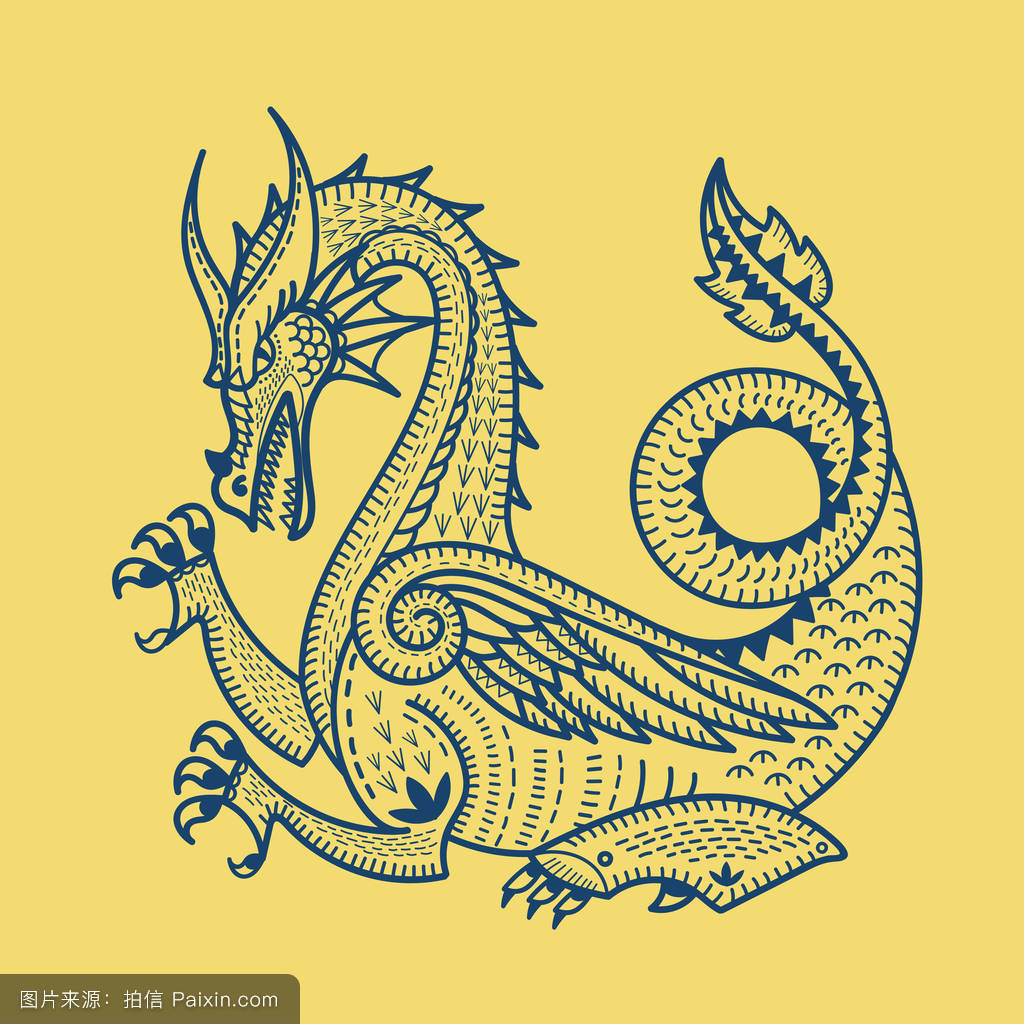 神话,吉祥物,符号,传统的,生肖,龙,矢量,幻想,爬行动物,东方的,装饰图片