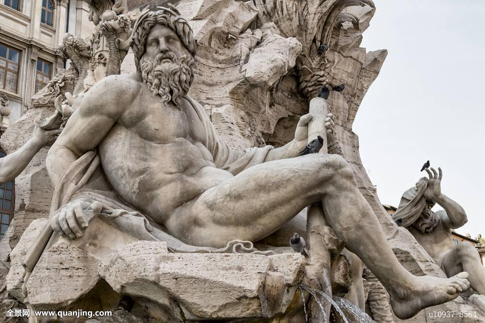 雕塑,喷泉,四个,河图片