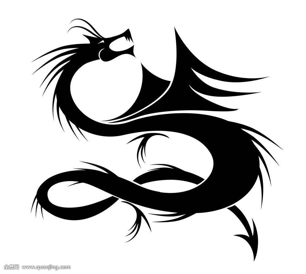 剪影,设计,神话,纹身,装饰,火,古老,文化,中国,亚洲,爪,东方,传统图片