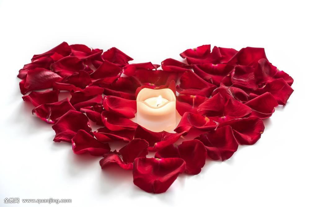 玫瑰花瓣,心形,蜡烛图片