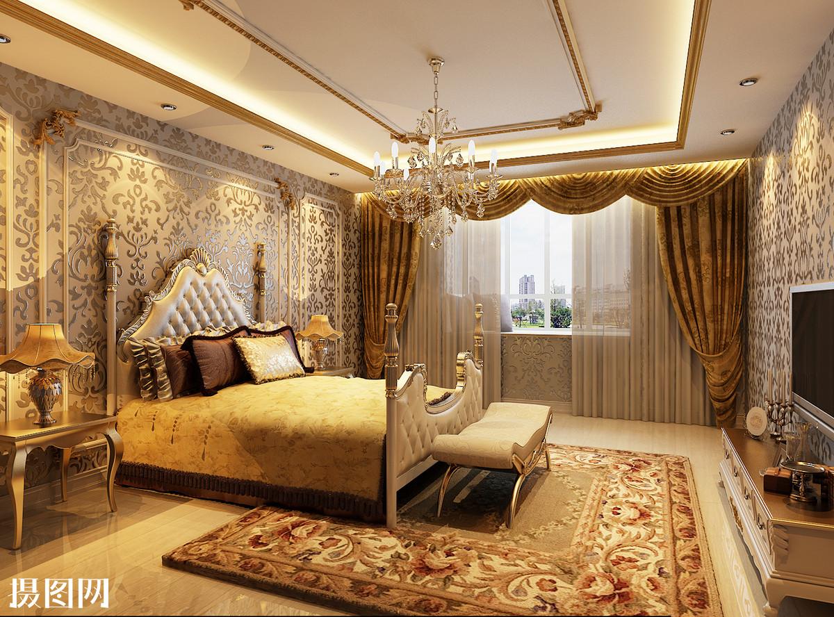 欧式卧室,卧室效果图,鎏金,描金,卧室,床品,地毯,主卧室效果图,墙纸