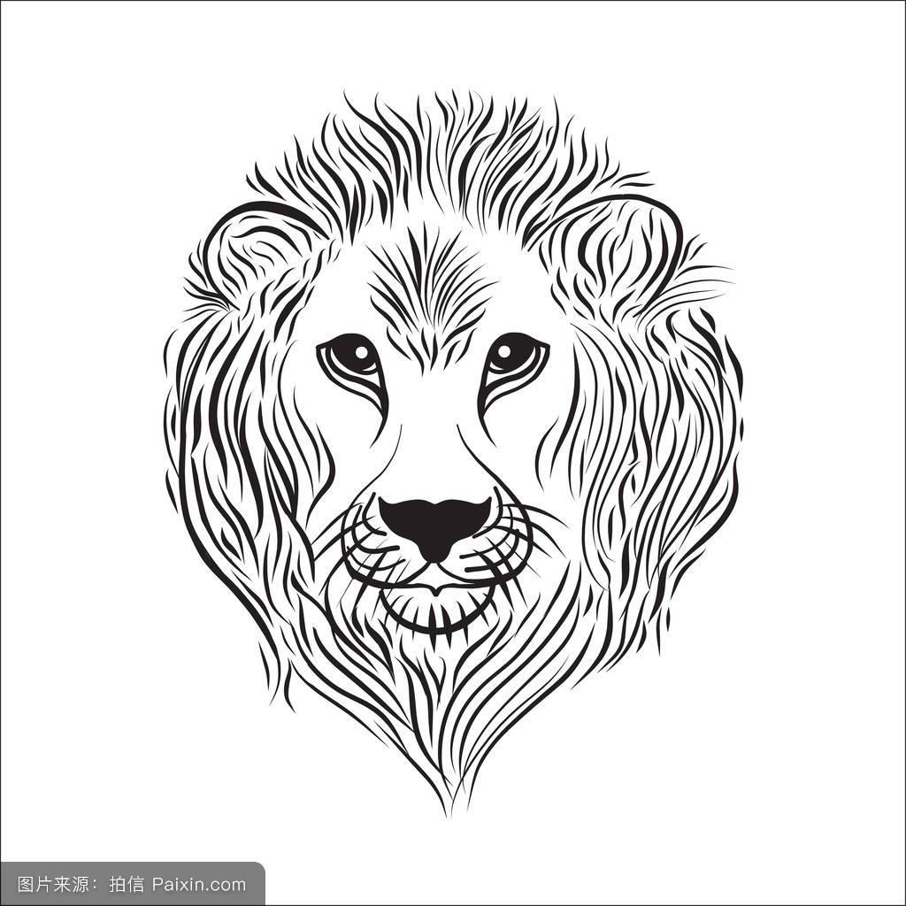 狮子头黑白线条式矢量插图图片