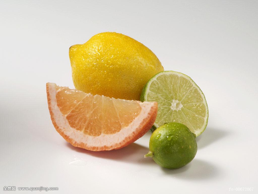 柠檬,柚子,白色背景图片