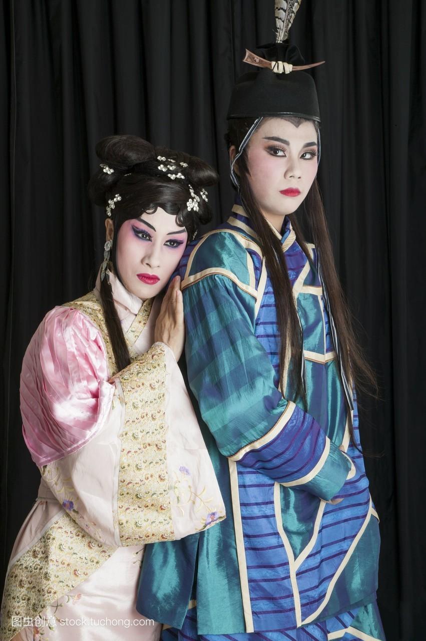 只有女人,只有成人,亚洲,假发,中国,脸谱,头饰,中老年女人,古装,舞台图片