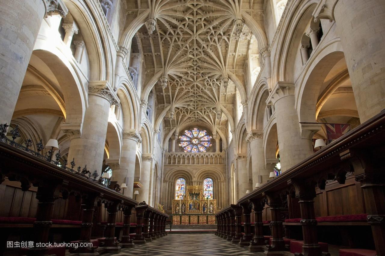 华丽,彩色图片,横构图,祭坛,教堂,英格兰,欧洲,旅行,牛津郡,大不列颠图片