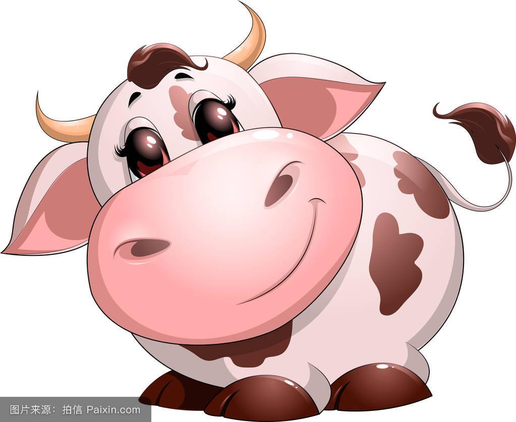 卡通,性格,角,牛奶,幸福的,分离,吉祥物,可爱的,公牛,白色,农场,女性图片