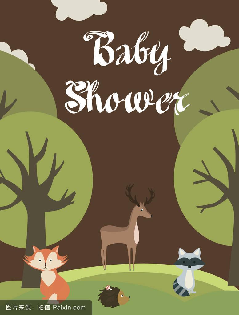 浣熊,邀请,淋浴,自然,聚会,卡片,框架,假日,兔子,幸福的,可爱的,森林图片