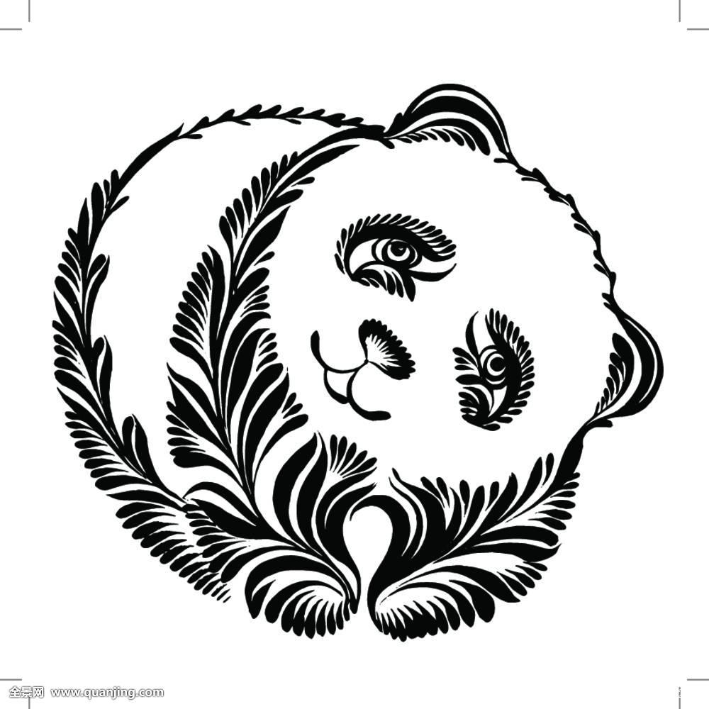 装饰,剪影,熊猫图片