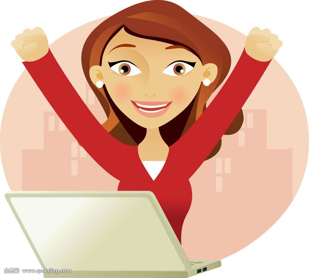 电脑,公司,可爱,优雅,创业人,管理人员,表情,女性,清新,女孩,高兴,家