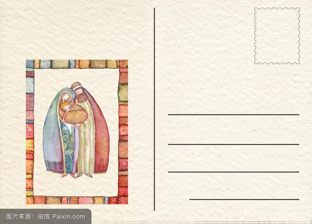 圣诞圣诞礼物现场手绘明信片图片