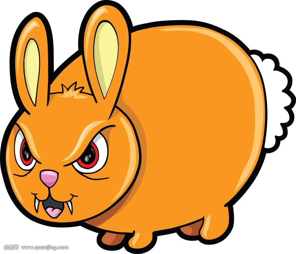 艺术,生气,宠物,卑劣,兔子,愤怒,脏,复活节,橙色,哺乳动物,动物,卡通