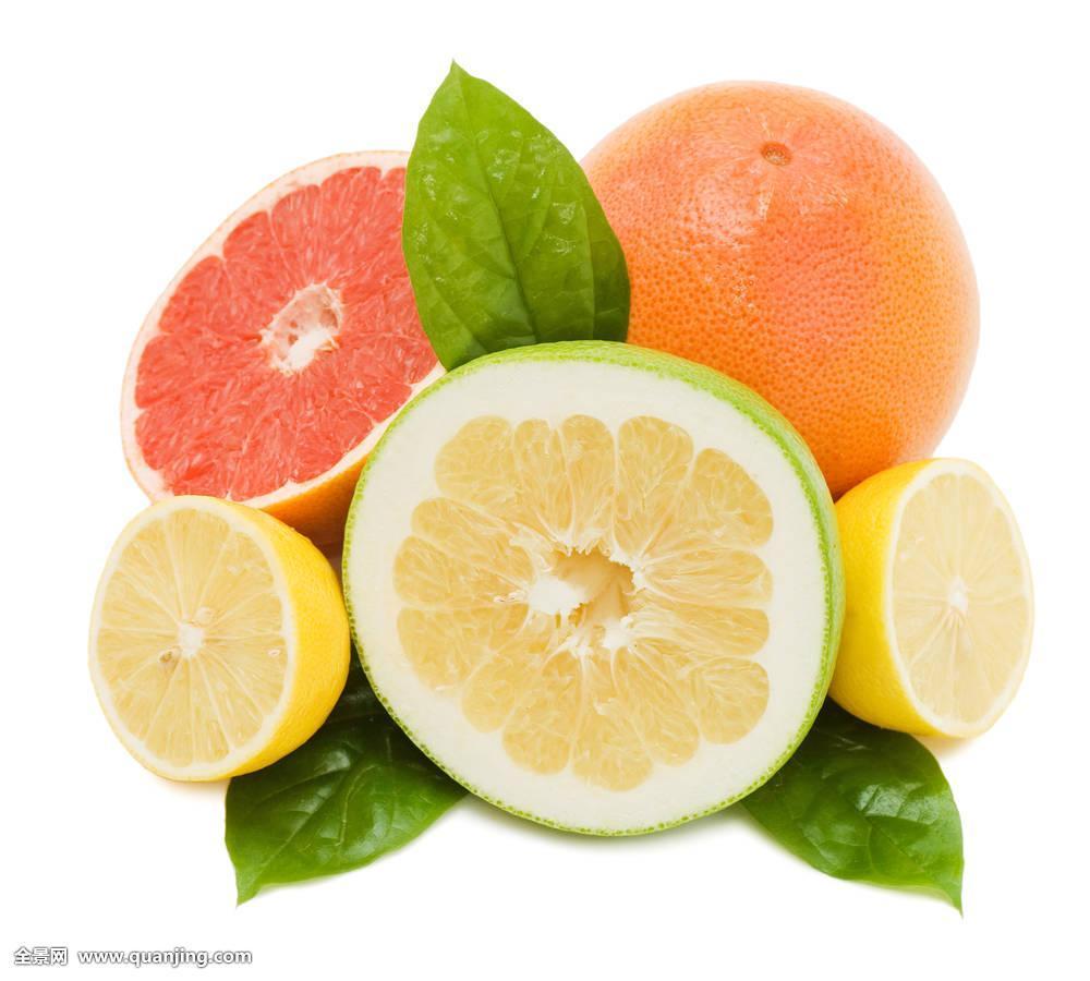 新鲜,多汁,柚子,绿色,叶子,隔绝图片
