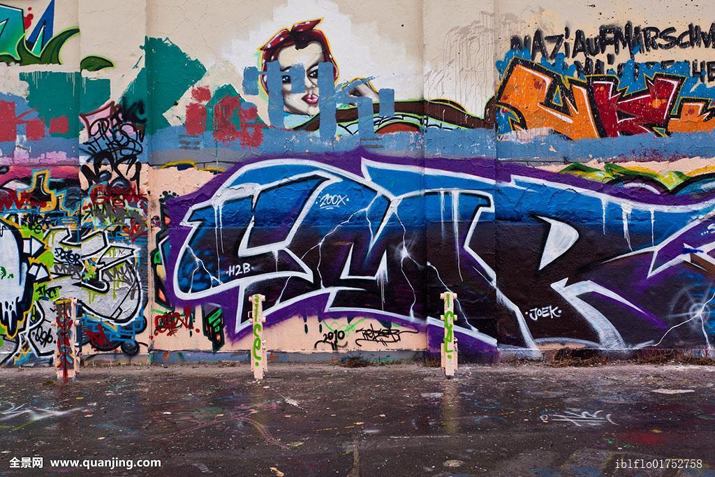涂鸦,建筑,威斯巴登,黑森州,德国,欧洲图片