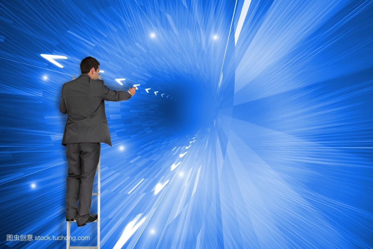 光�9aby�%_年青人,商务,蓝色,箭头,照耀,未来,公司,指示,向上,发光,方向,穿着正