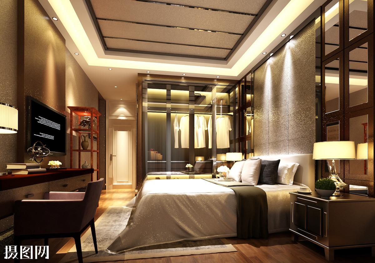 欧式卧室,卧室效果图,鎏金,描金,卧室,床品,地毯,主卧室效果图,墙纸图片
