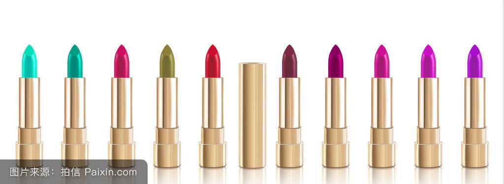 美丽的红色化妆品口红设置在不同的颜色与盖子的黄金.图片