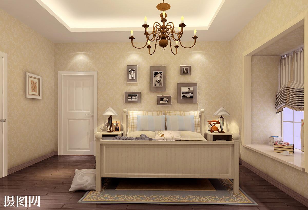 浅黄色家具,主卧室效果图,新中式,家装,效果图,室内效果图,3d效果图图片