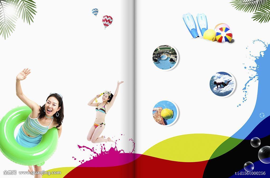 人,站立,线条,抬手,泳衣,成年,夏天,暑假,女性,旅游,热气球,礼仪,脚蹼图片