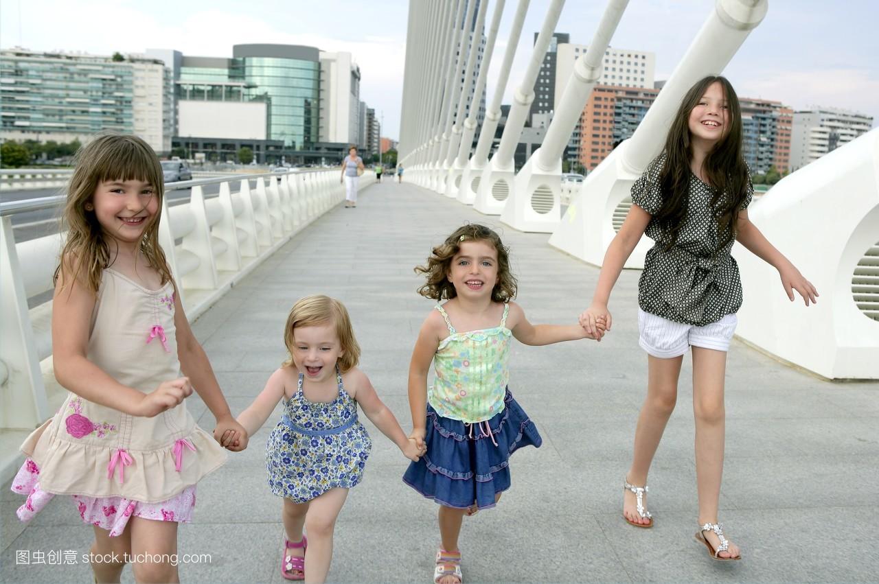 姐姐_美,美国人,美丽,肖像,群体,金发,金发女人,姐姐,学生,孩子,年青人