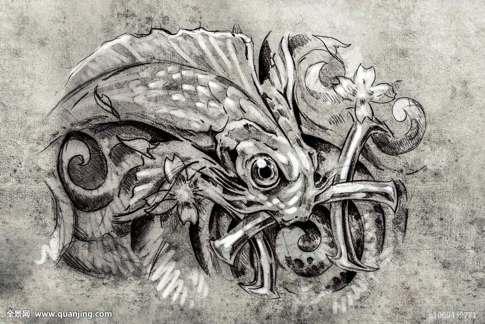 纹身,艺术,素描,鱼图片