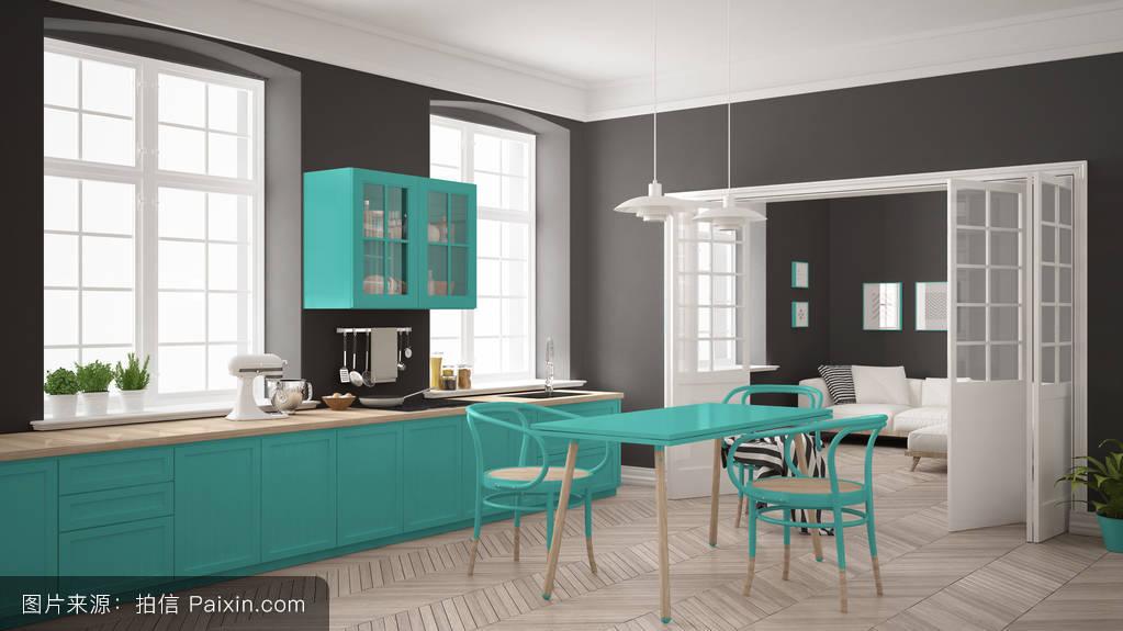 简约的北欧白厨房与客厅在ba图片