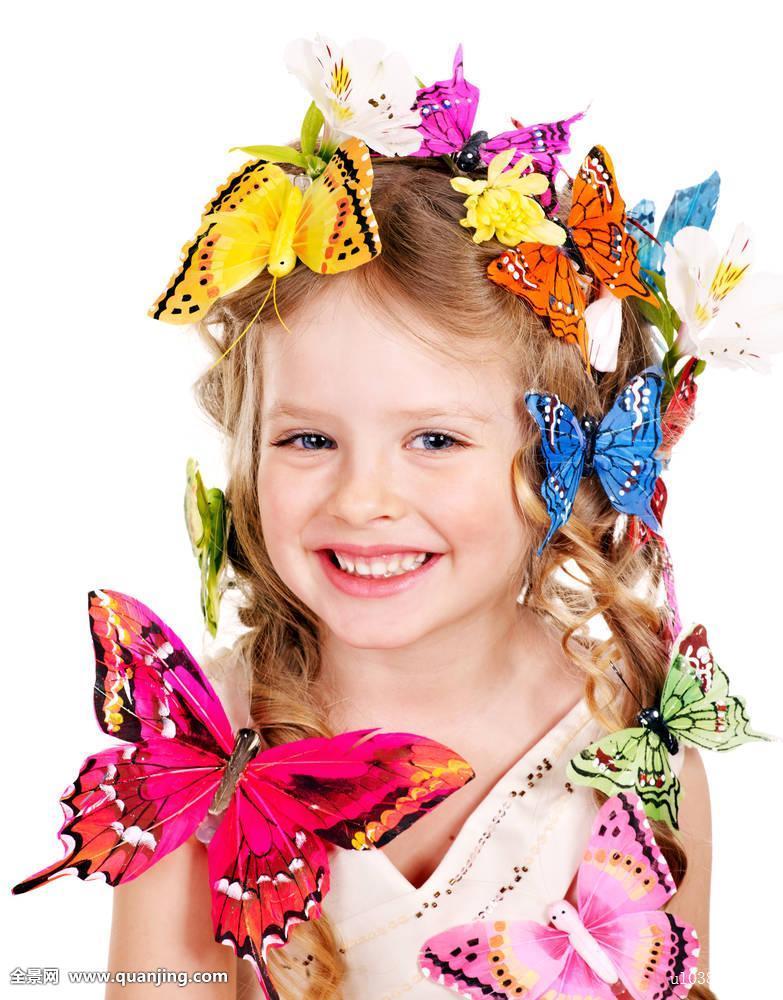 女孩,孩子,儿童,春天,夏天,花,蝴蝶,发型,发式,时尚,魅力,美,美女图片