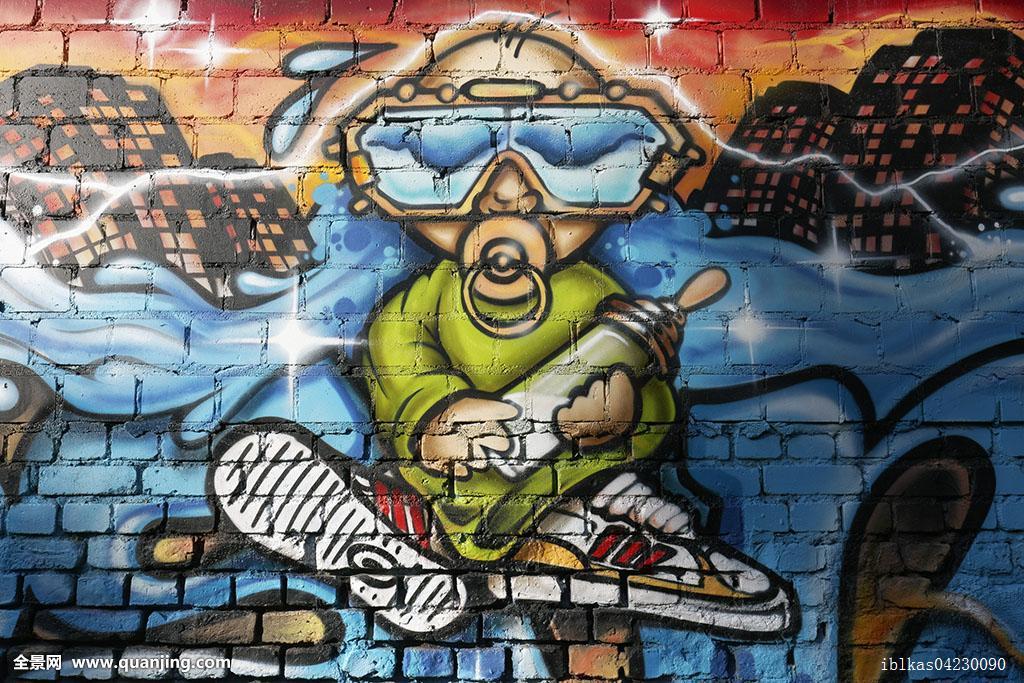 婴奶嘴潜水镜奶瓶涂鸦街头艺术北莱茵威斯特伐利亚德国欧洲图片