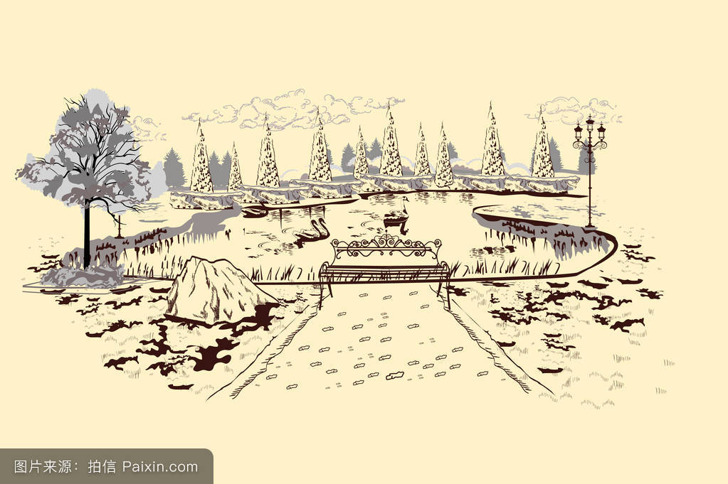 http://s11.sinaimg.cn/middle/80c45f94nf4ca5294385a&690_series of park landscapes views with threes in lines.