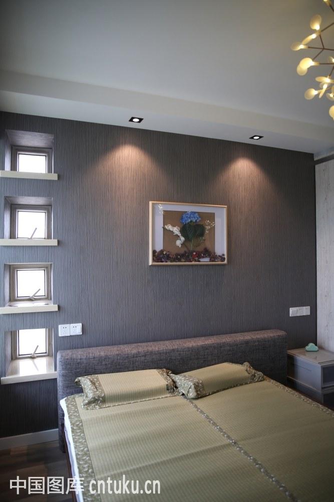 住宅内部,卧室,布置,床,灯光,背景墙,装修图片