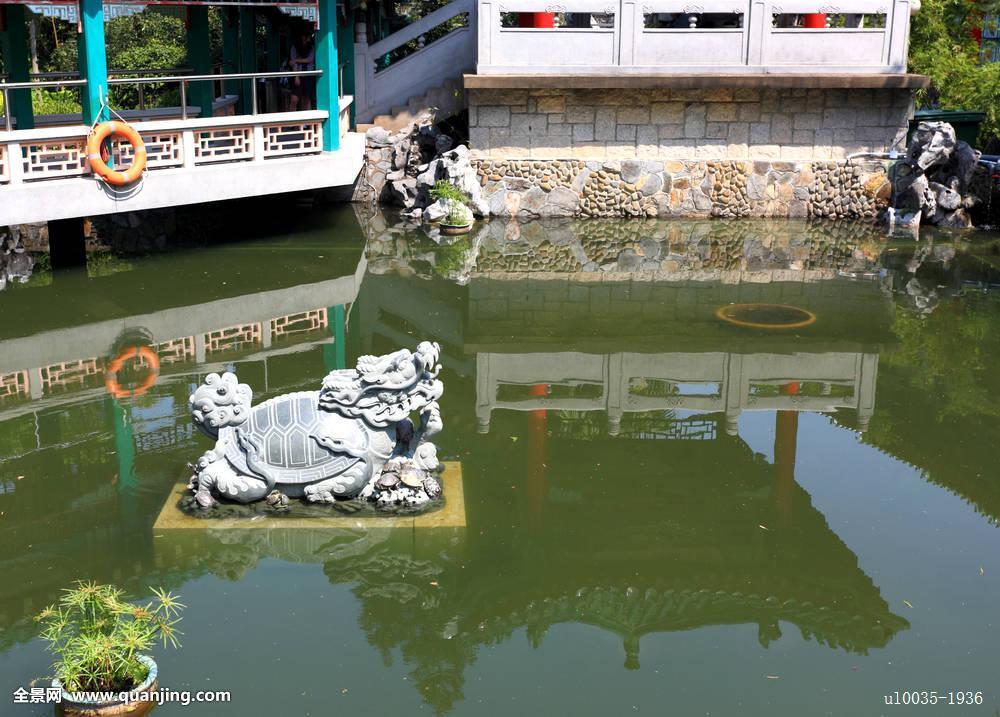 狮子,雕塑,中式花园,水池图片
