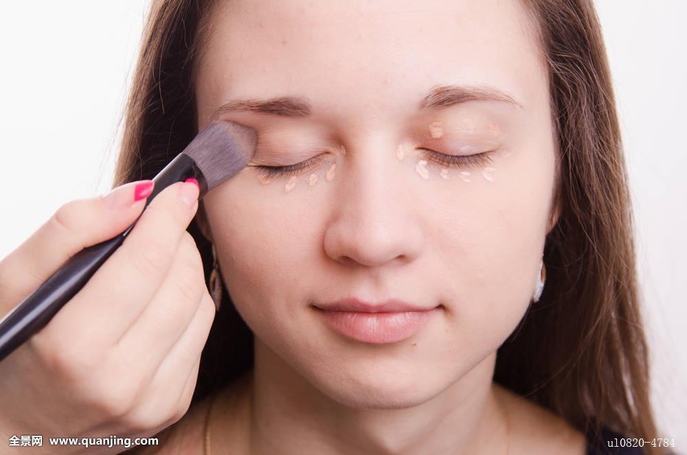 化妆,艺术家,模型,女孩,乳霜,颜料,眼皮,化妆刷,睫毛,睫毛膏,眼线图片