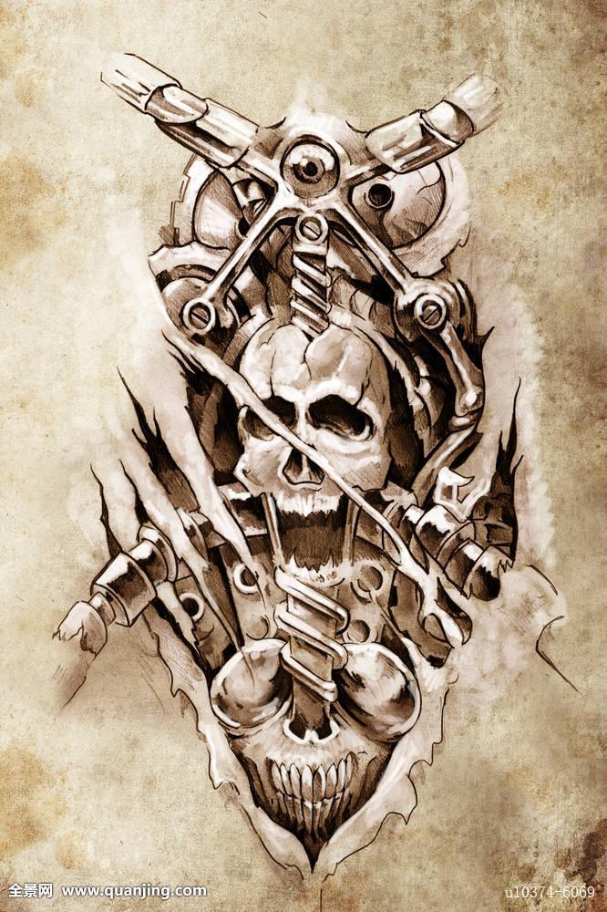 象征,插画,魔幻,怪兽,图案,撒旦,剪影,头骨,微笑,风格,尾部,纹身 (666
