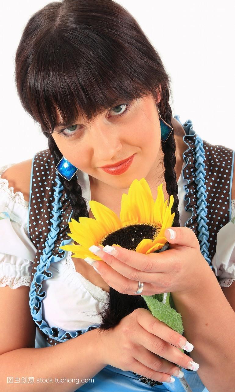 自然,小孩,滑稽,女人,身体,裁,小孩子,孩子,植被,花卉,向日葵,平头,辫图片