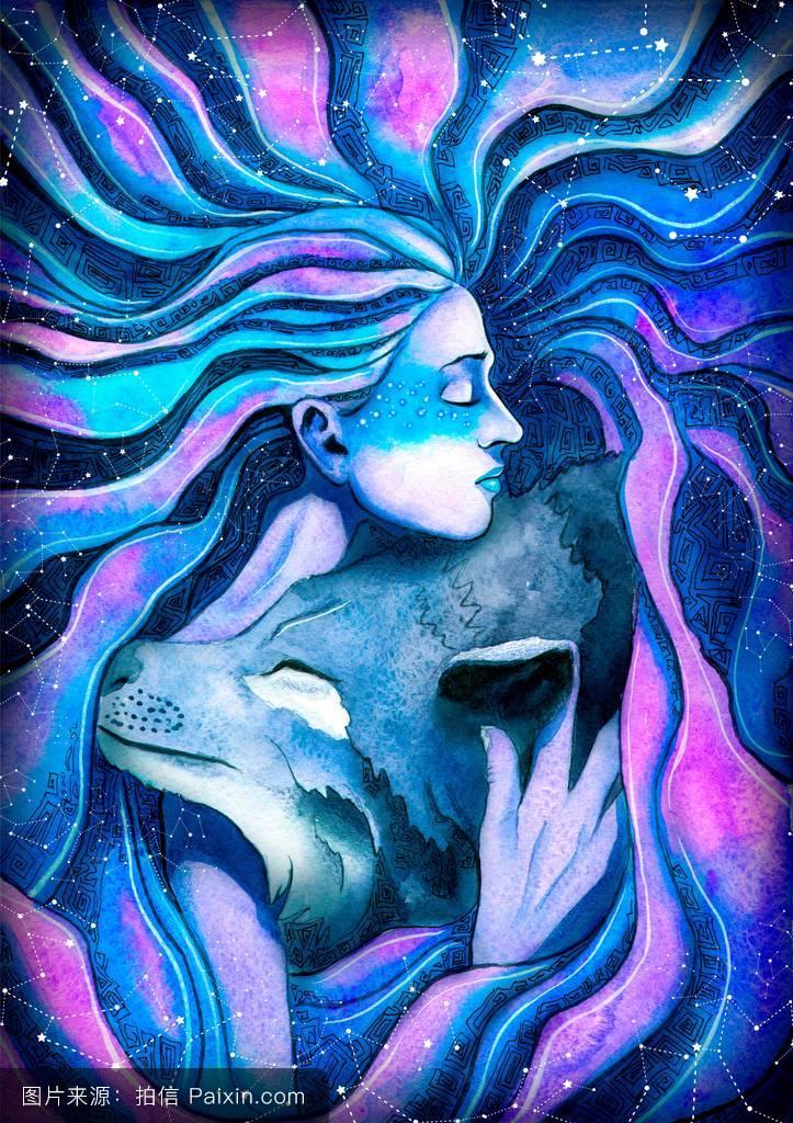 宇宙,幸福的,可爱的,简直不可思议,水彩画,照顾,缠,朋友,紫色,拥抱图片