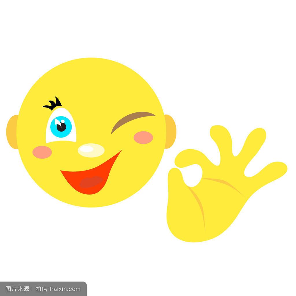 卡通,可以,性格,获胜,符号,表情符号,面对,好的,贴,头,矢量,签名图片