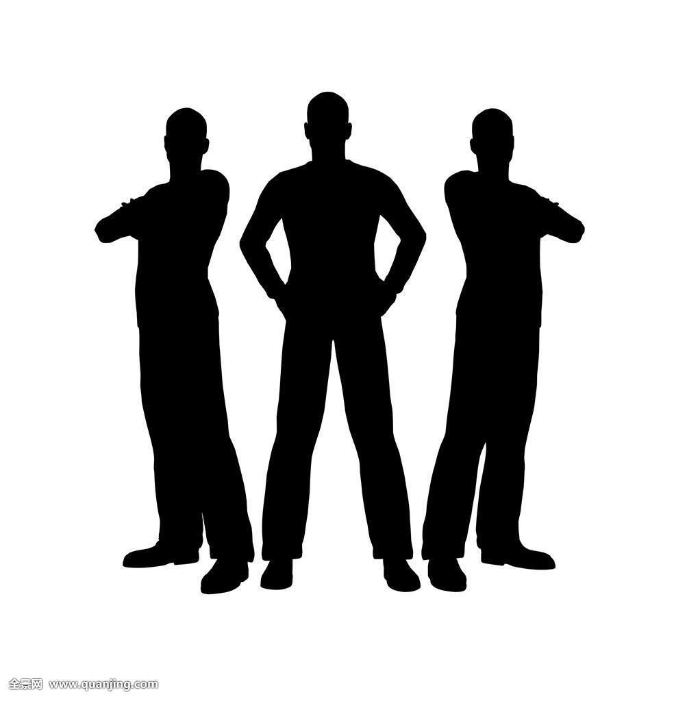 姿势摆姿势严肃剪影职员站立凝视学生交谈教师教育团队三