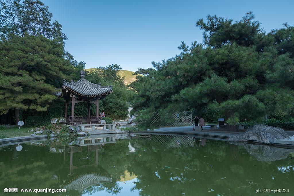 无人,全景,户外,木雕,园艺,屋檐,中国,北京,中式,园林,亭子,湖面,湖图片