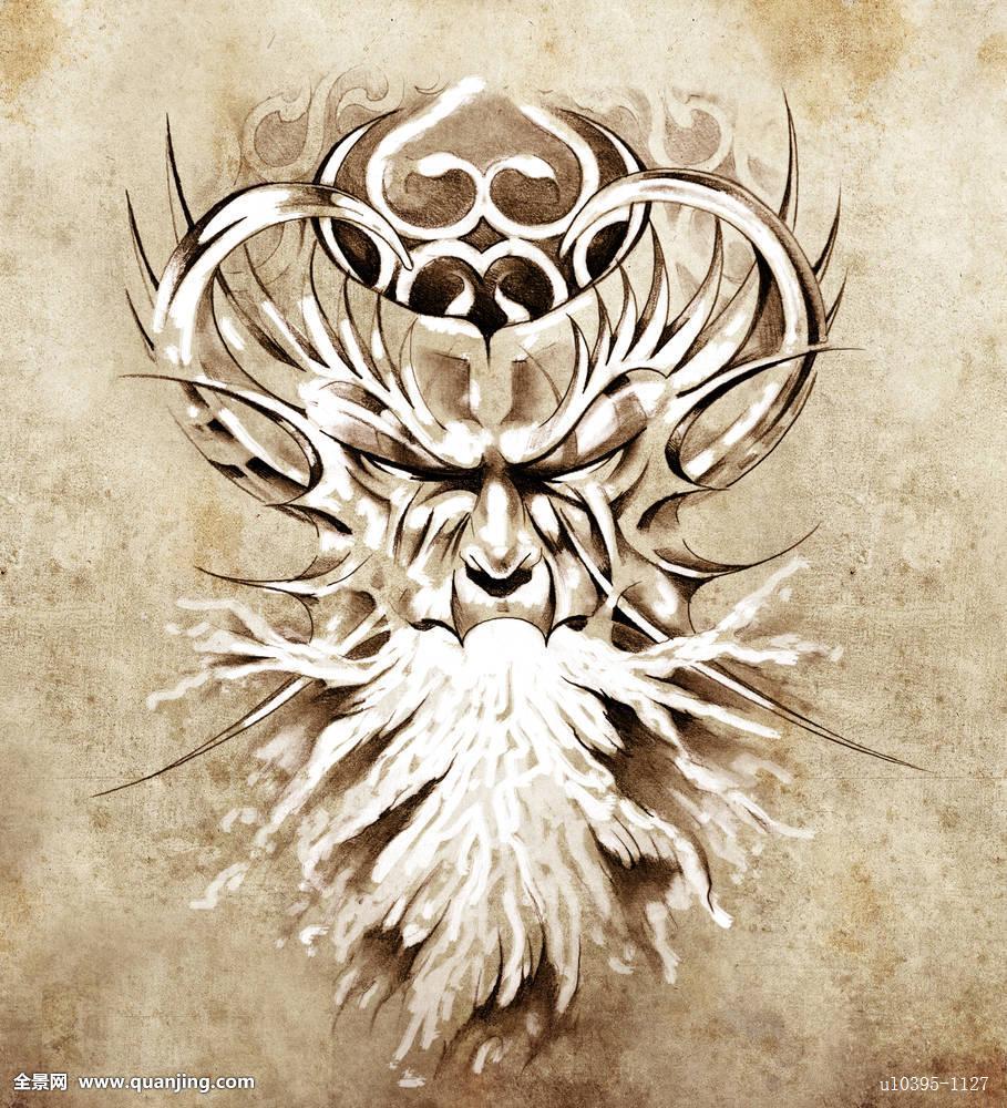 素描,纹身,艺术,怪兽,面具,白色图片