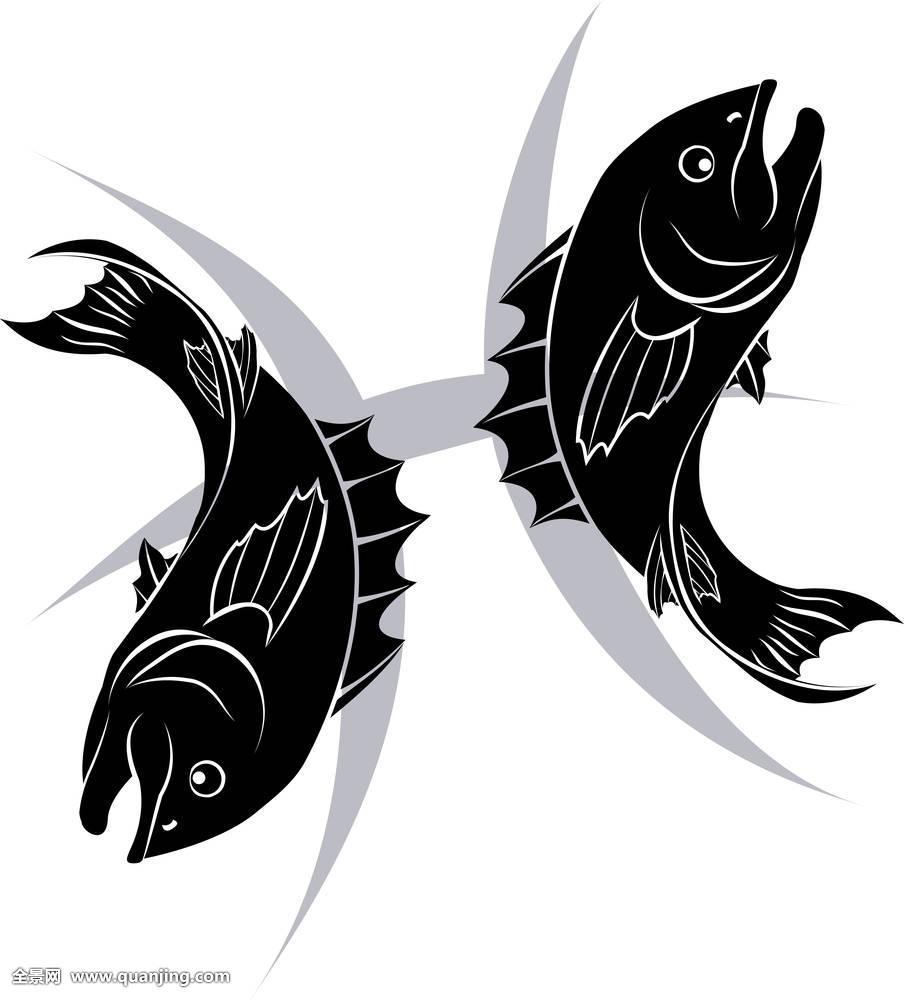 绘画,鱼,未来,象征,插画,单色调,神话,双鱼座,剪影,星星,时尚,纹身,两图片