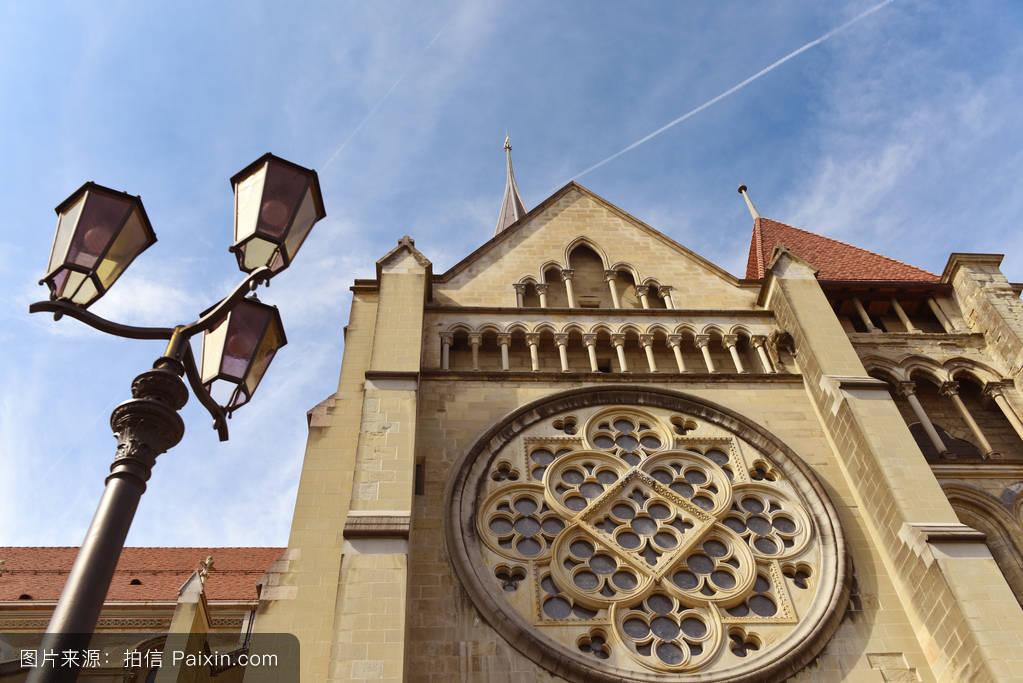 天空,中世纪,蓝色,欧洲的,信仰,教堂,宗教,大教堂,行政区,瑞士,夏天图片