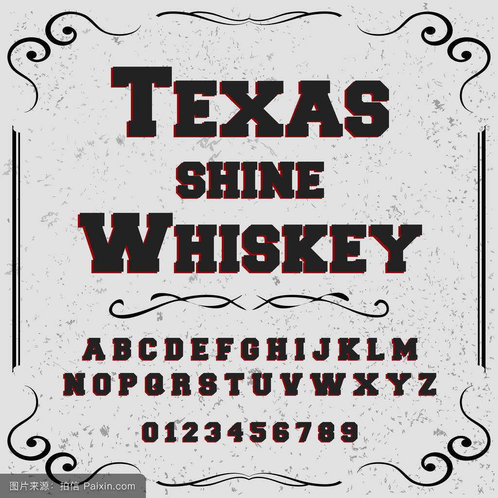 字体字体脚本旧货德克萨斯威士忌脚本字体-矢量字体标签和任何类型图片