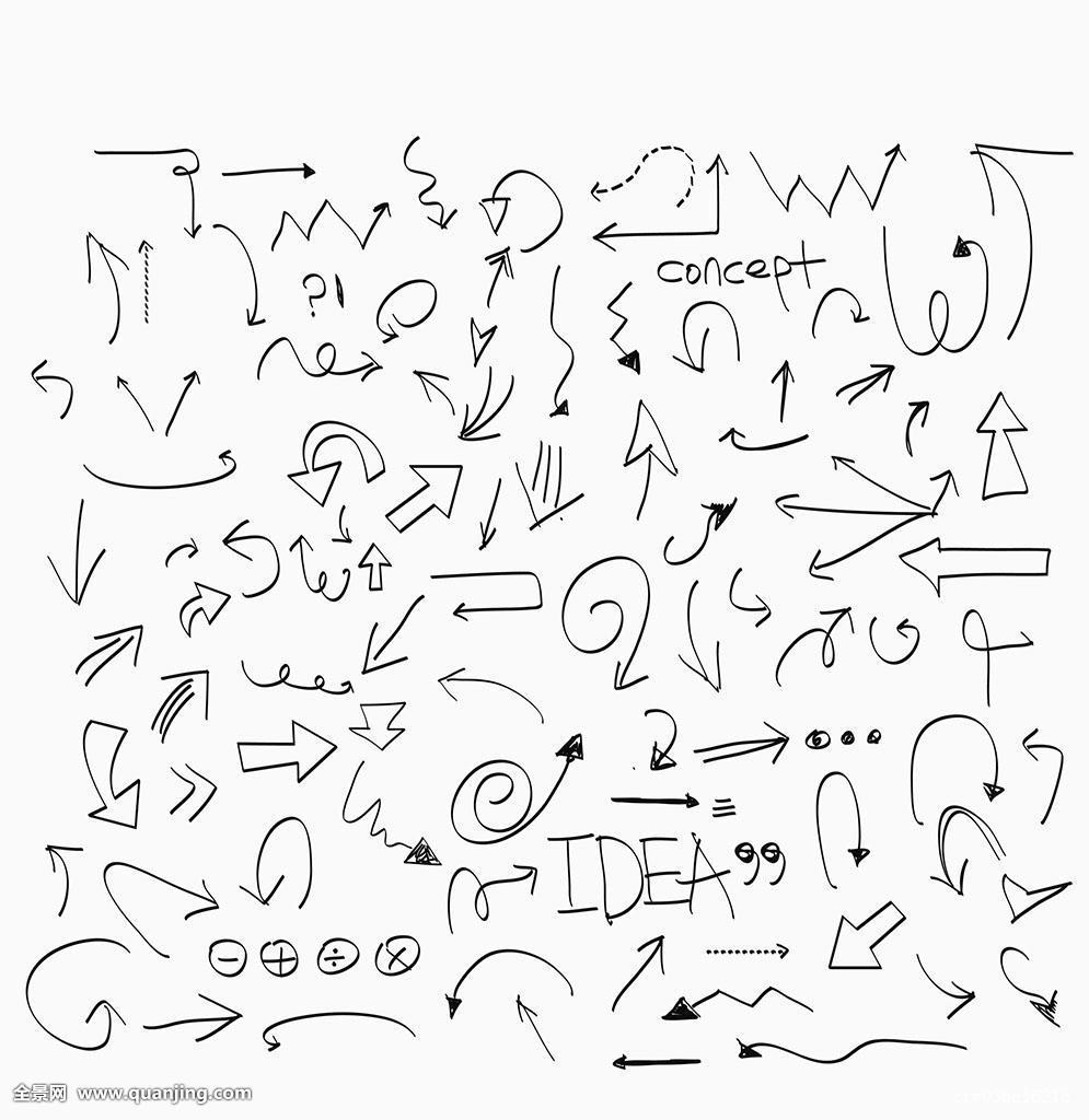 插画,箭头,品种,无人,方向,问号,概念,黑白,简单图片