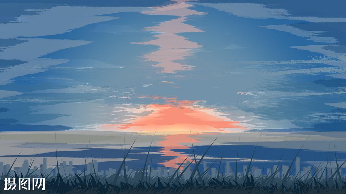 手绘夕阳下的天空图片