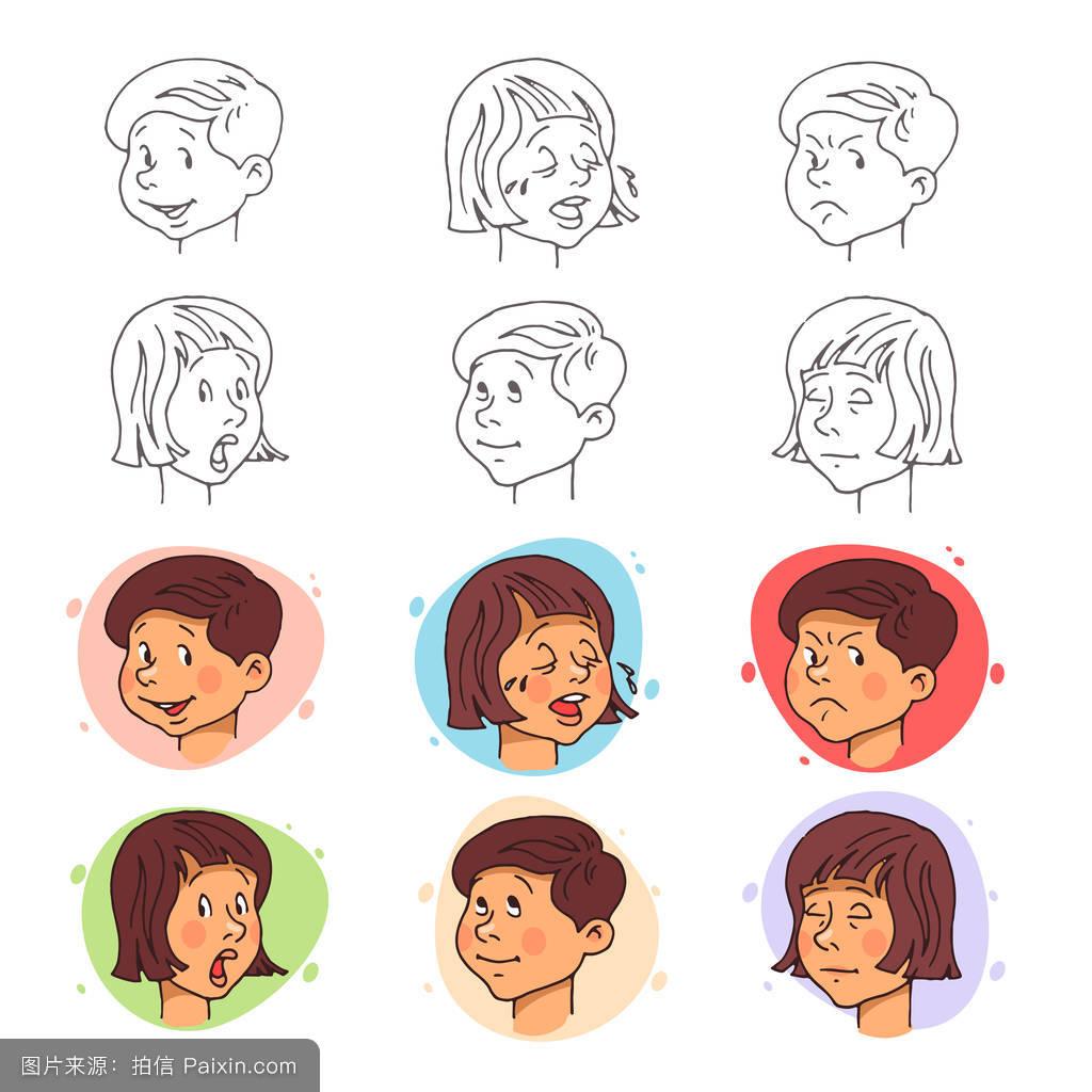 卡通,口,性格,面对,头发,头,笑,分离,图解的,感觉,绘画,人类,可爱的图片