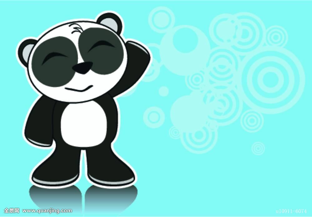 小,熊猫,卡通图片
