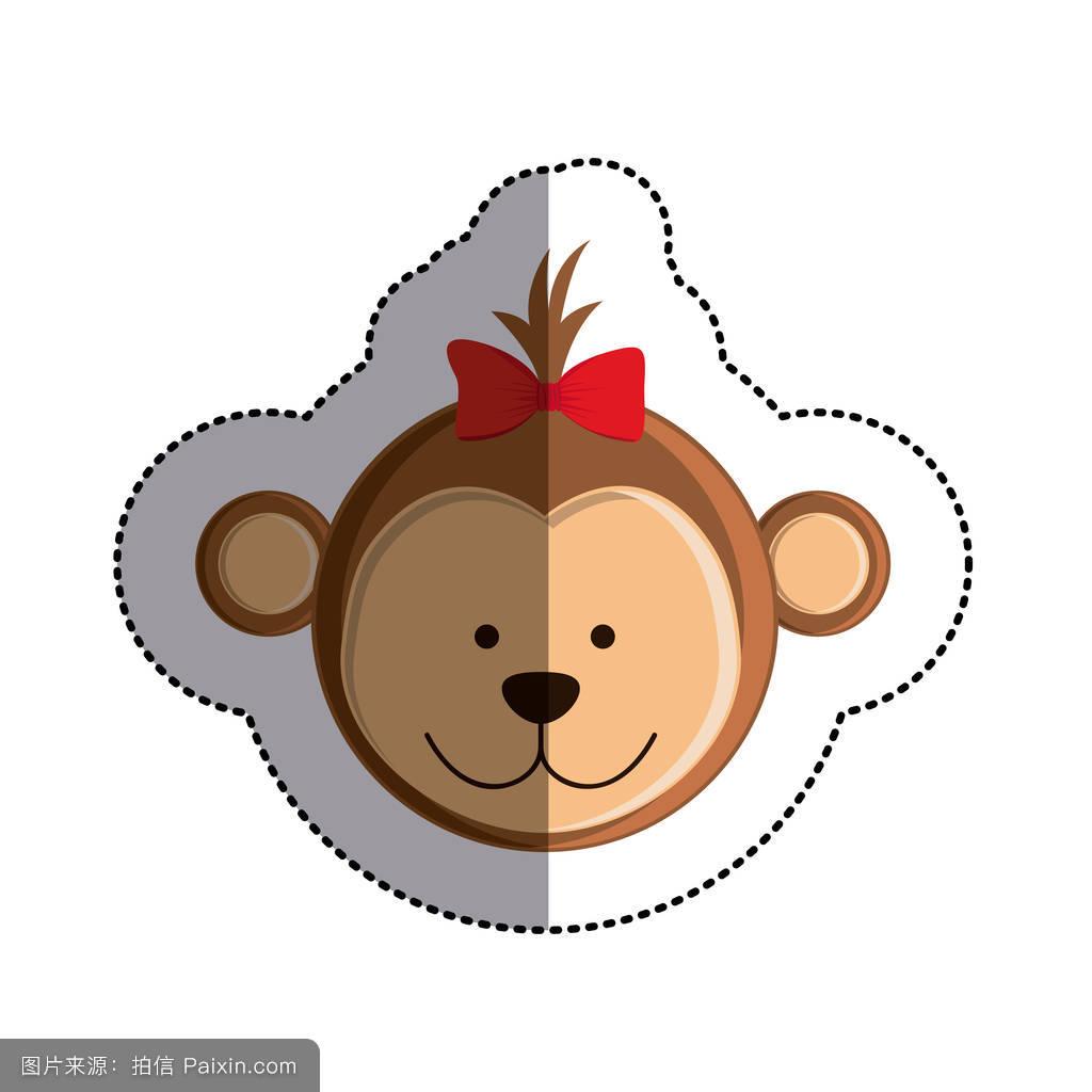 画猴子用什么颜色_卡通,哺乳动物,贴纸,面对,分支,自然,猿,黑猩猩,猴子,装饰性的,丛林