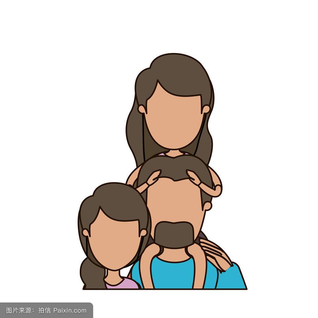 妈妈色爸爸色_五颜六色的漫画,无表情的半身像,父亲和母亲背着小胡子和小女孩.