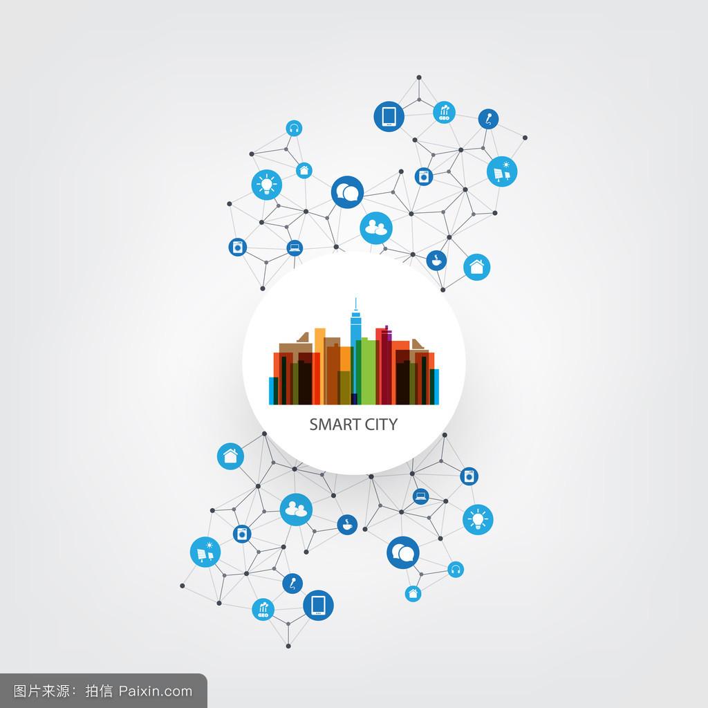 随着数字网络连接图标-多彩的智慧城市设计理念,技术背景图片