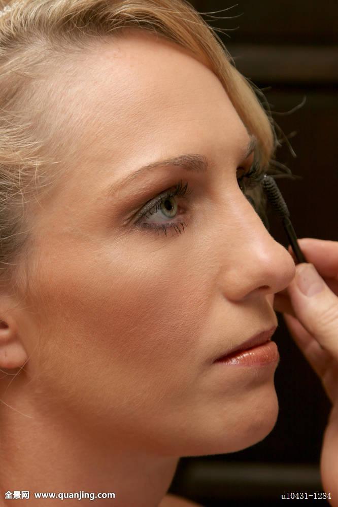 眼,化妆,配饰,睫毛膏,眼线,腮红,口红,化妆刷,金发,皮肤,软,粉底,艺图片